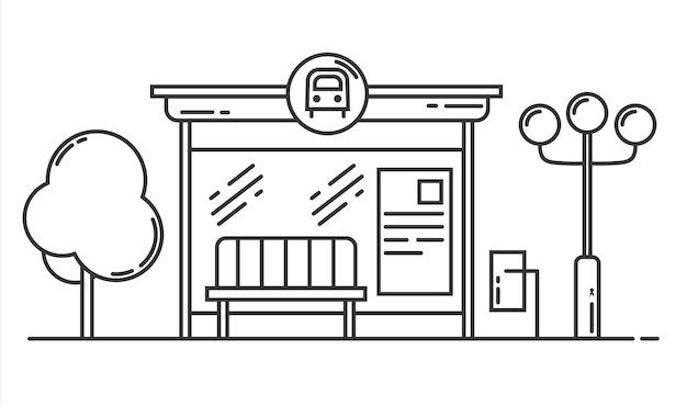 バス停ベクトル線画イラスト公共交通機関バスターミナル概要図