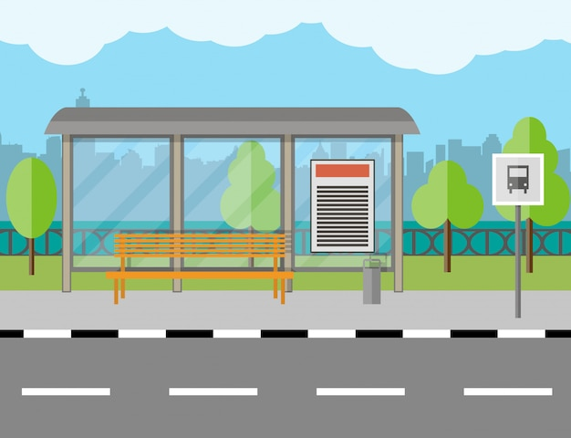 Bus stop with bench and city background