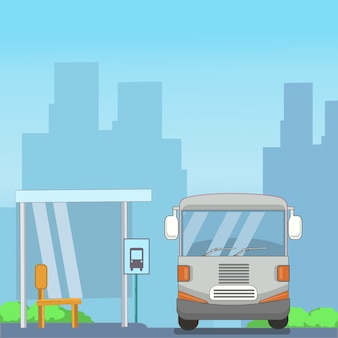 Bus and stopping place in the city flat design
