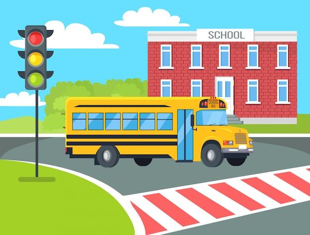 Bus stops before pedestrian near school building