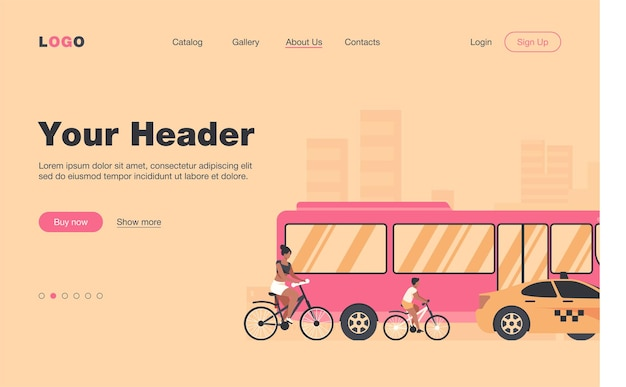 バス、タクシー、サイクリストが市内の道路を運転しています。交通機関、自転車、車のフラットランディングページ。バナー、ウェブサイトのデザイン、またはランディングウェブページの交通と都市のライフスタイルの概念