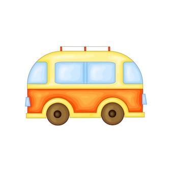 Автобус для путешествий в милом мультяшном стиле. векторные иллюстрации, изолированные на белом фоне.