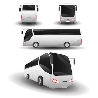 Автобусный транспорт просмотров набор иллюстраций
