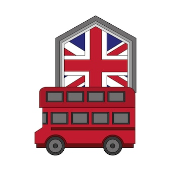 Bus transport with emblem of flag great britain