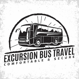 Bus travel company logo , emblem of excursion or tourist bus rental organisation, travel agency print stamps, bus typography emblem,