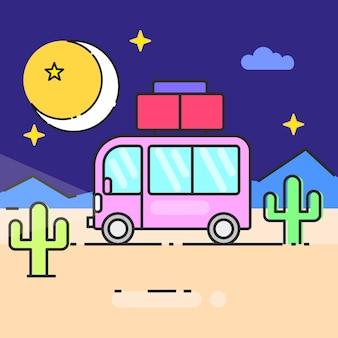 Автобусное путешествие по миру векторные иллюстрации для ваших нужд