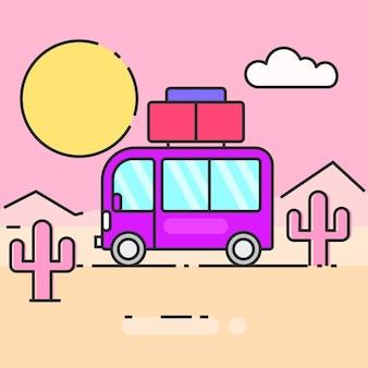 Автобусное путешествие по миру векторные иллюстрации, готовые для вашего дизайна, поздравительных открыток, баннеров