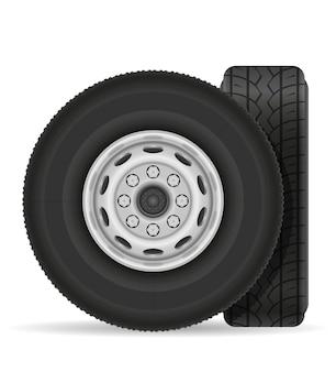 Bus or truck wheel on white