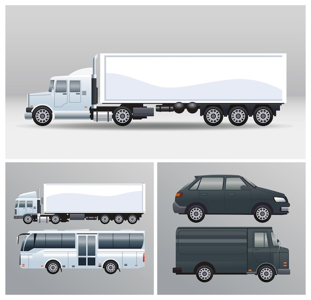 Bus and trucks with vehicles mockup style
