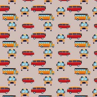 Bus and van cartoons pattern background