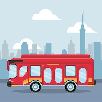 街のシーンのイラストのバス車両