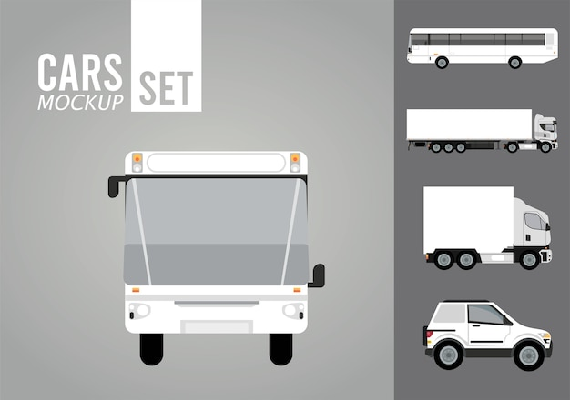 Bus white and set vehicles mockup