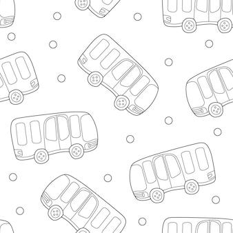 バス、手描きの背景。トランスポート付きの黒と白のシームレスパターン。印刷に適した装飾的なかわいい壁紙