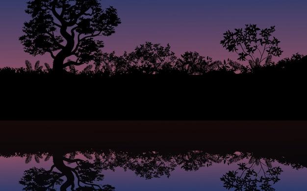 Bush reflection on water