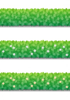 Bushes hedge and little flowers isolated. green bushes fence seamless pattern.