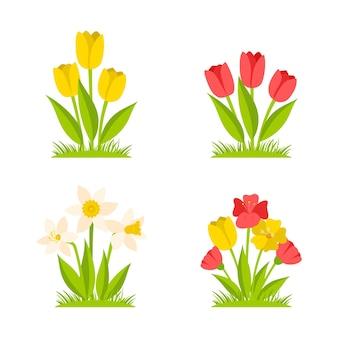 チューリップと水仙の茂み。春の花。