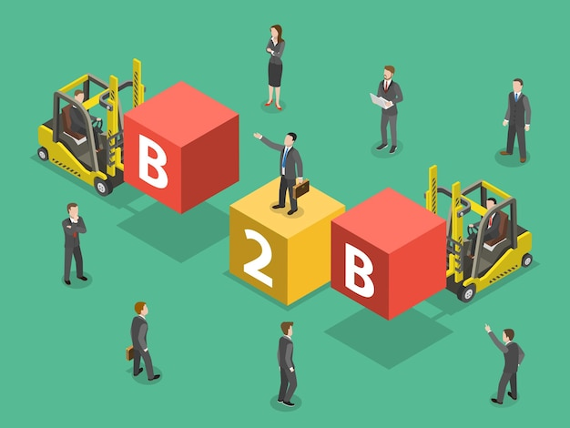 Busines to business flat isometric. people are compounding the word b2b.