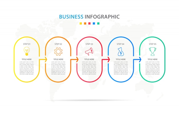 Busines infographic template with 5 option or step