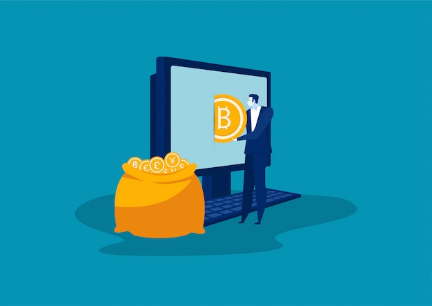 Businesman puts golden bitcoins in a bag from a laptop.vector