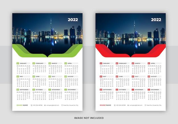 Business 2022 wall calendar design print template