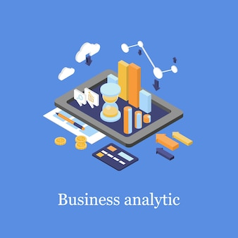Business 3d isometric infographic data analytics