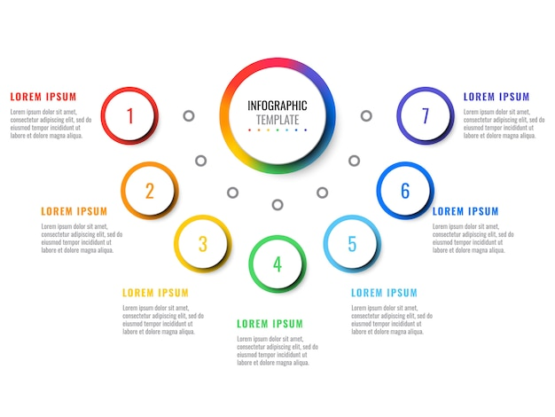 Business 3d realistic infographic with seven steps. modern infographic template with round elements.