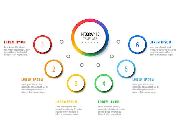 Business 3d realistic infographic with six steps.