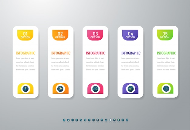 Business 5 option infographic chart element.