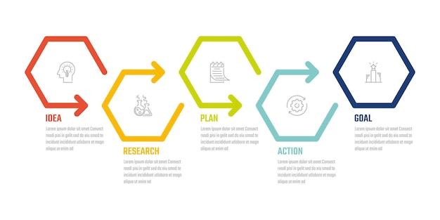 비즈니스 5단계 인포그래픽 정보, 벡터 디자인