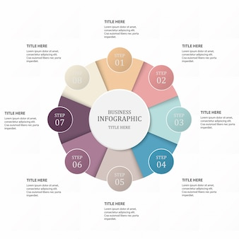 Business 8 step process infographics with step circles.