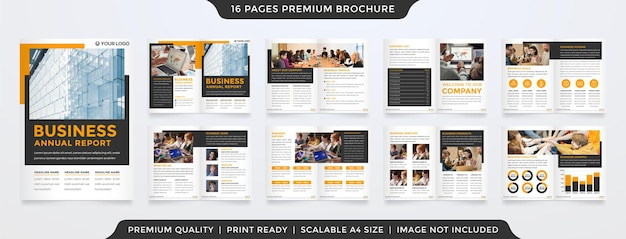 Business a4 brochure template design with clean and premium style