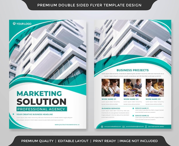 Business a4 flyer layout template premium style Premium Vector