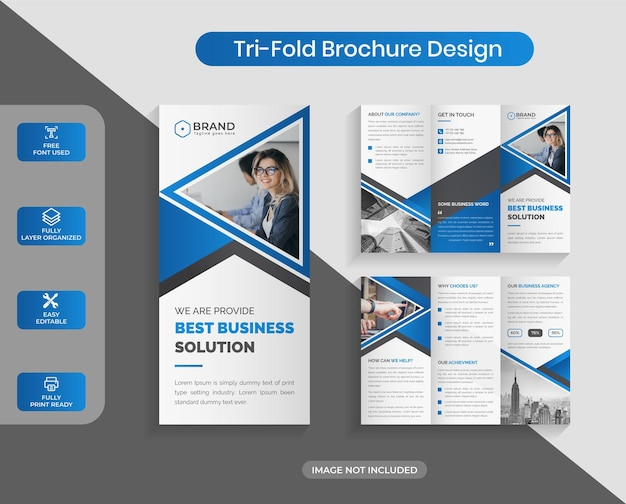 Business abstract corporate trifold brochure design