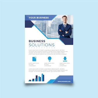 Business abstract flyer with photo
