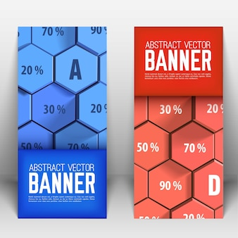 Business abstract geometric vertical banners with blue and red 3d hexagons and percentage isolated