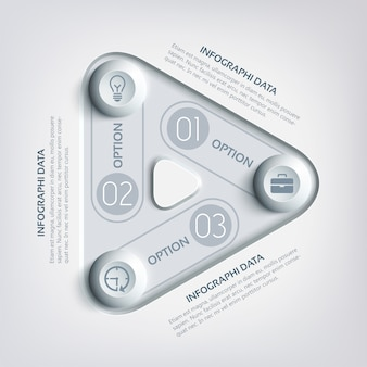 Business abstract triangle infographics with three options round rectangles circles and icons in gray colors