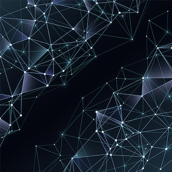 Business abstract vector black and white background with chaotic polygons. abstract spatial dark background, network polygonal illustration