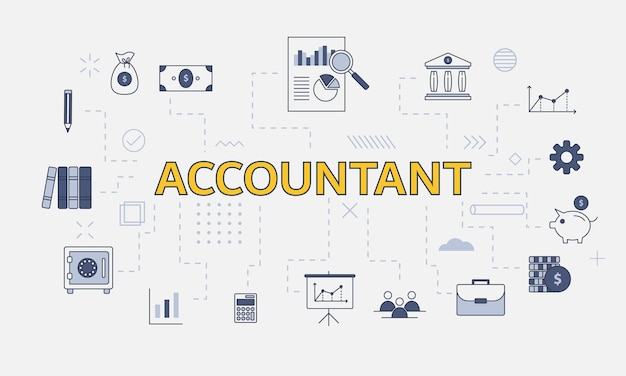 Business accountant concept with icon set with big word or text on center