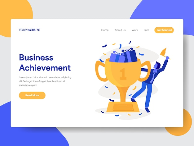 Business achievement illustration for website page