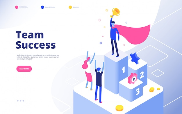 Business achievement isometric concept. best businessman award recognition employee competition winner team goal  background