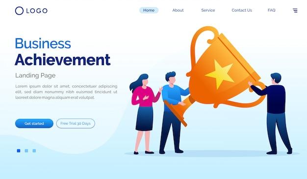 Business achievement landing page website illustration vector template