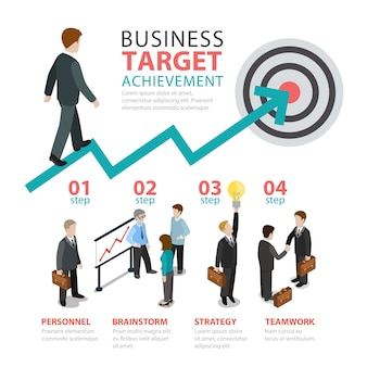 비즈니스 성과 목표 단계 평면 스타일 주제 infographics 개념