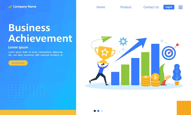 Business achievement for web landing page