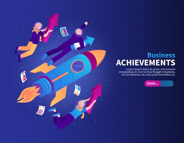 Business achievements color  with rocket and people flying to galaxy stars isometric