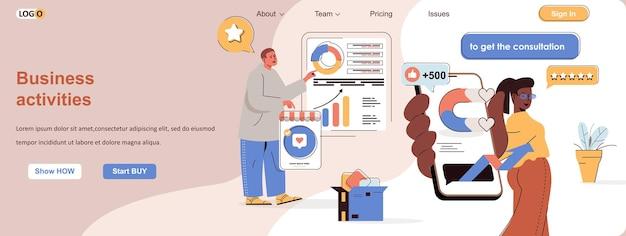 Business activities web concept new project development data analytics career