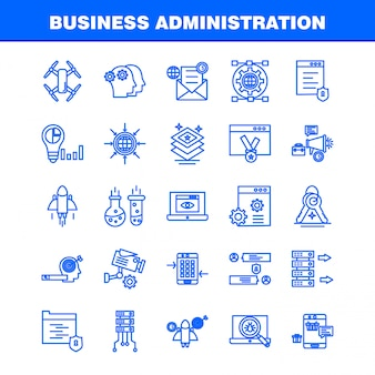 Business administration line icons set for infographics, mobile ux/ui kit
