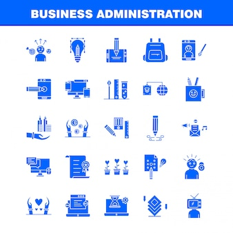 Business administration solid glyph icons set