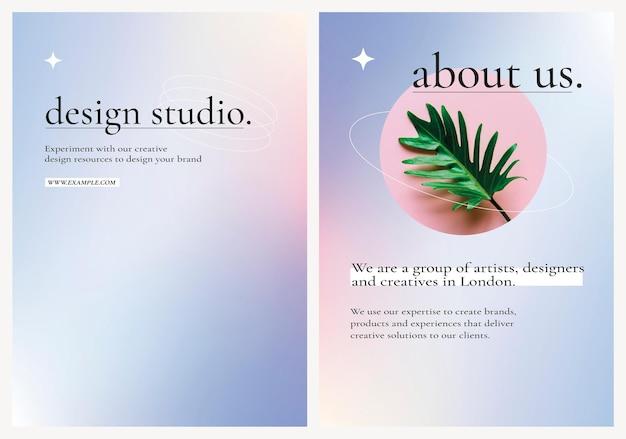 Manifesto vettoriale modificabile per pubblicità aziendale su grafica sfumata viola
