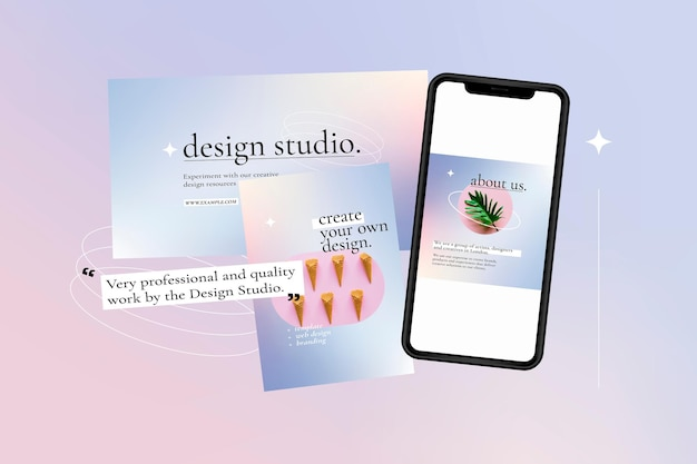 Modello vettoriale modificabile per pubblicità aziendale su grafica sfumata viola con schermo dello smartphone