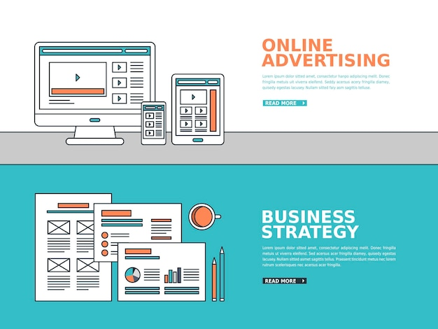 Business advertising banner in thin line style